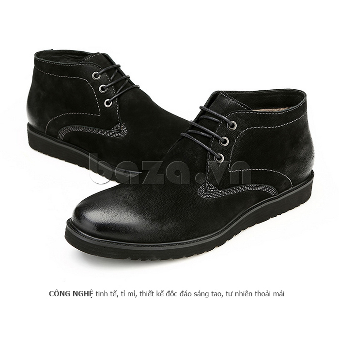 Giày da nam Olunpo DHT1442 màu đen cá tính