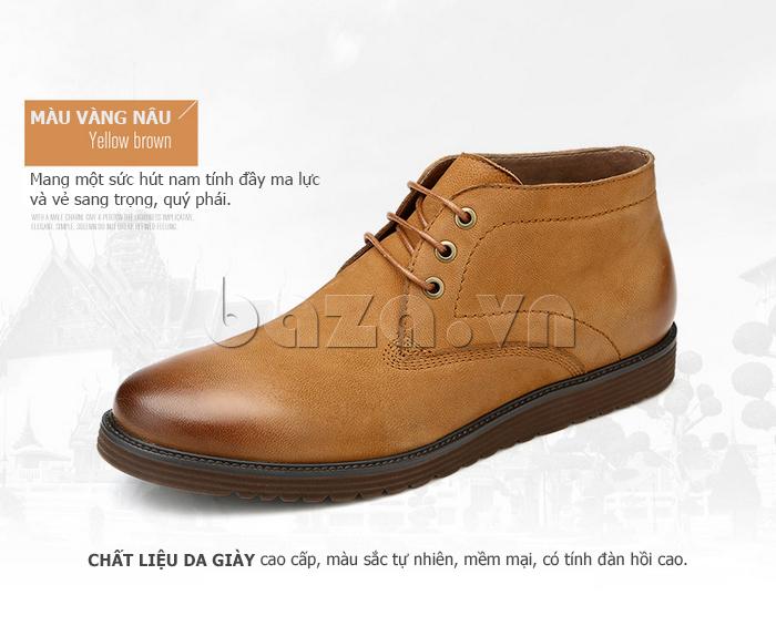 Giày da nam Olunpo DHT1442 màu vàng nâu tự nhiên
