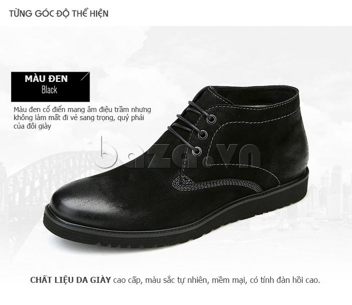 Giày da nam Olunpo DHT1442 màu đen cổ điển