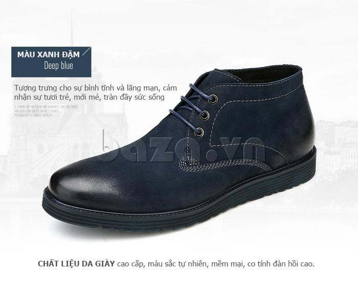 Giày da nam Olunpo DHT1442 màu xanh đậm lãng mạn