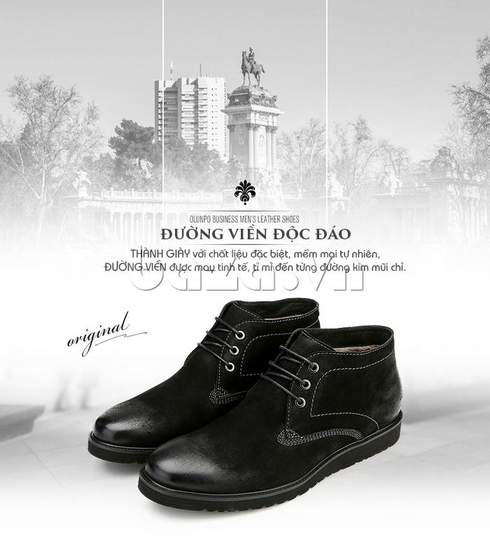 Giày da nam Olunpo DHT1442 thiết kế đường viền độc đáo