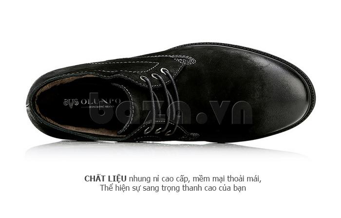 Giày da nam Olunpo DHT1442 chất liệu nhung nỉ