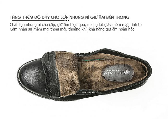 Giày da nam Olunpo DHT1442 giữ ấm chân ngày đông