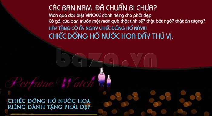 Đồng hồ nữ Vinoce V6276L dây da, viền đính đá sang trọng đồng hồ nước hoa đầu tiên tại Việt Nam