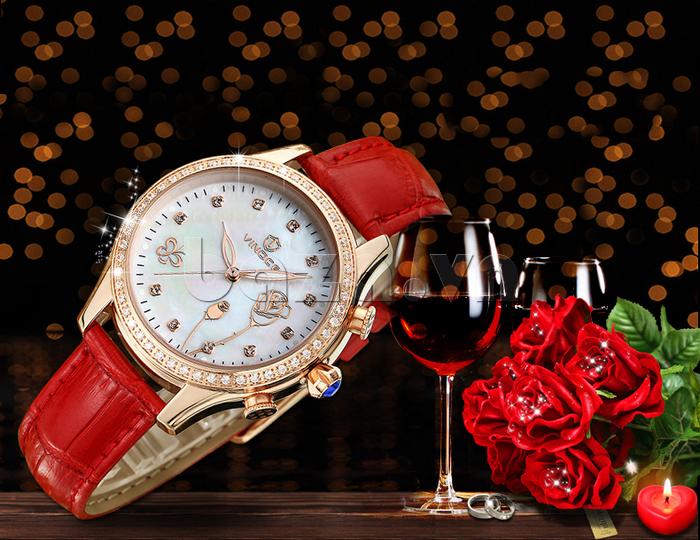 Đồng hồ nữ Vinoce V6276L dây da, viền đính đá sang trọng dây da thời trang