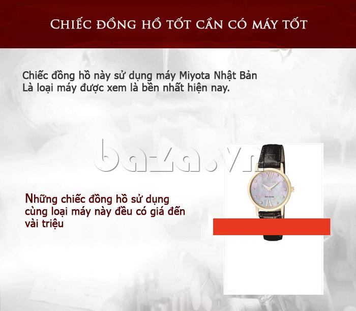 Đồng hồ nữ Vinoce V6276L dây da, viền đính đá sang trọng máy chạy tốt, bền bỉ