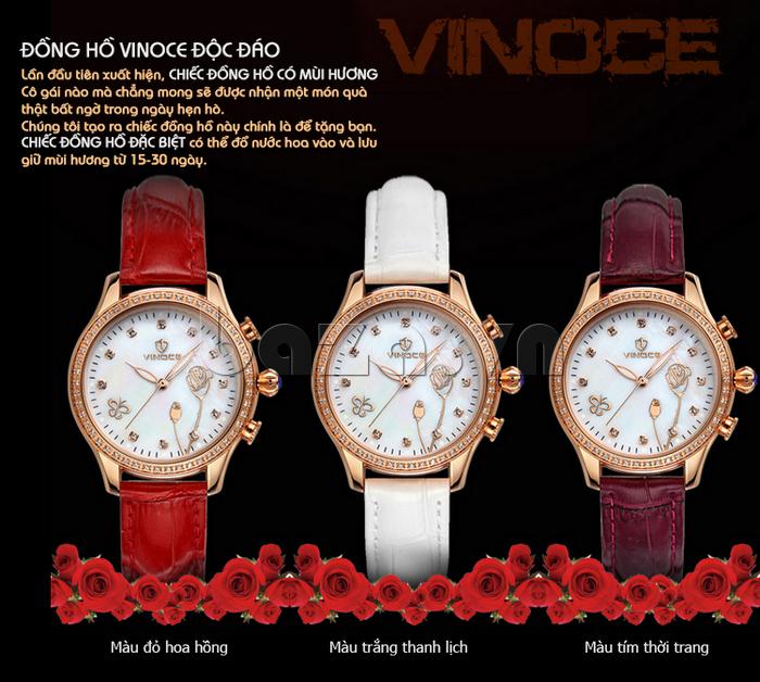 Đồng hồ nữ Vinoce V6276L dây da, viền đính đá sang trọng đồng hồ đặc biệt