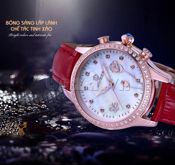 Đồng hồ nữ Vinoce V6276L dây da, viền đính đá sang trọng sáng bóng lấp lánh