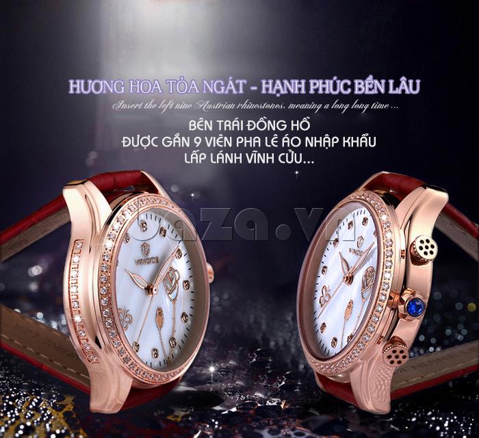 Đồng hồ nữ Vinoce V6276L dây da, viền đính đá sang trọng hạnh phúc bền lâu