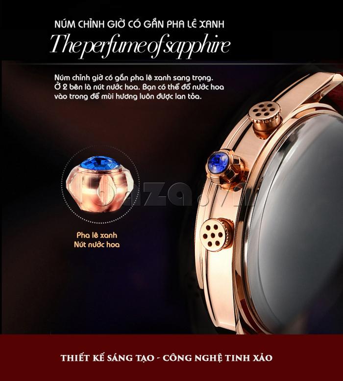 Đồng hồ nữ Vinoce V6276L dây da, viền đính đá sang trọng chế tác tinh xảo