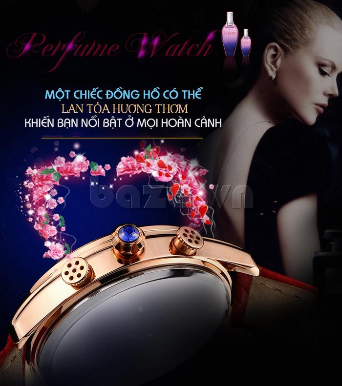 Đồng hồ nữ Vinoce V6276L dây da, viền đính đá sang trọng giúp bạn nổi bật hơn