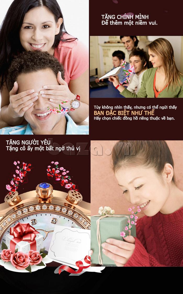 Đồng hồ nữ Vinoce V6276L dây da, viền đính đá sang trọng tặng phẩm ý nghĩa, tăng thêm sự yêu thương