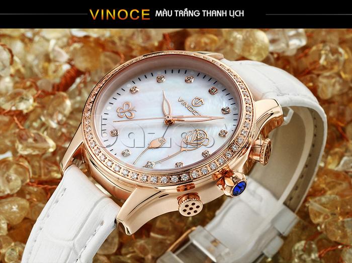 Đồng hồ nữ Vinoce V6276L dây da, viền đính đá sang trọng màu trắng thanh lịch