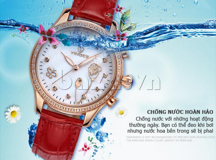 Đồng hồ nữ Vinoce V6276L dây da, viền đính đá sang trọng chỉ số chống thấm nước cao