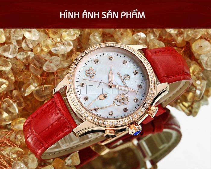 Đồng hồ nữ Vinoce V6276L dây da, viền đính đá sang trọng sản phẩm tuyệt hảo