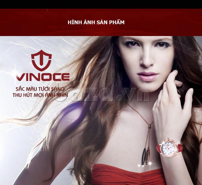 Đồng hồ nữ Vinoce V6276L dây da, viền đính đá sang trọng đẳng cấp thời trang mới
