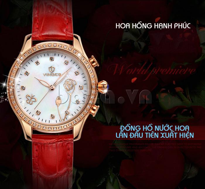 Đồng hồ nữ Vinoce V6276L dây da, viền đính đá sang trọng thiết kế tinh xảo
