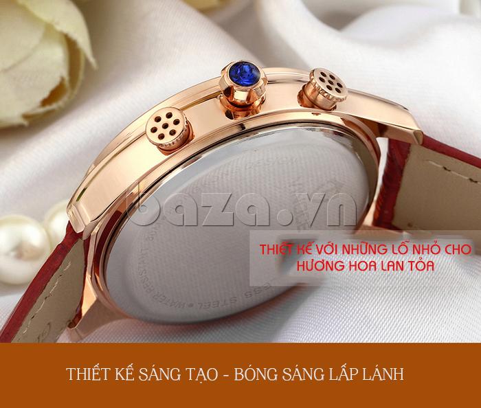 Đồng hồ nữ Vinoce V6276L dây da, viền đính đá sang trọng thiết kế độc đáo để đựng nước hoa vào bên trong
