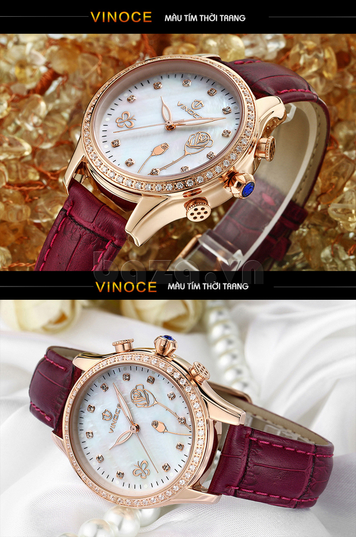 Đồng hồ nữ Vinoce V6276L dây da, viền đính đá sang trọng màu tím thời trang