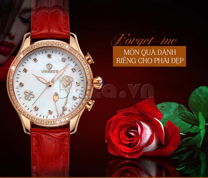 Đồng hồ nữ Vinoce V6276L dây da, viền đính đá sang trọng món quà dành riêng cho phái đẹp