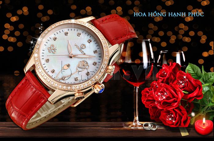 Đồng hồ nữ Vinoce V6276L dây da, viền đính đá sang trọng thiết kế dáng hoa hồng hạnh phúc