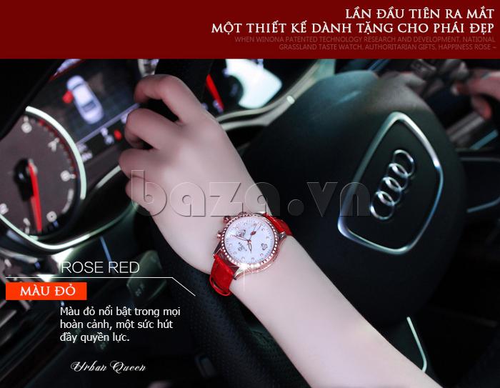 Đồng hồ nữ Vinoce V6276L dây da, viền đính đá sang trọng thiết kế hoàn hảo