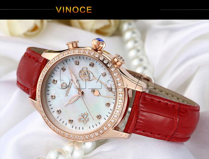 Đồng hồ nữ Vinoce V6276L dây da, viền đính đá sang trọng thương hiệu đồng hồ cao cấp