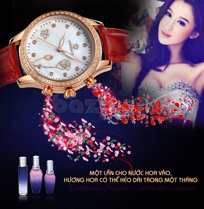 Đồng hồ nữ Vinoce V6276L dây da, viền đính đá sang trọng màu đỏ