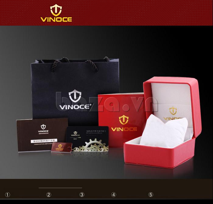 Đồng hồ nữ Vinoce V6276L dây da, viền đính đá sang trọng hộp đựng sang trọng