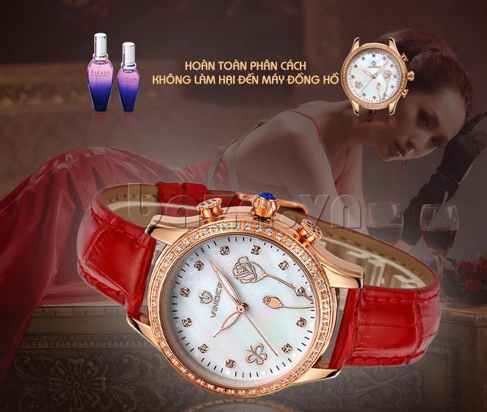 Đồng hồ nữ Vinoce V6276L dây da, viền đính đá sang trọng chất lượng hoàn hảo