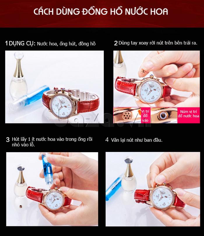 Cách sử dụng Đồng hồ nữ Vinoce V6276L dây da, viền đính đá sang trọng