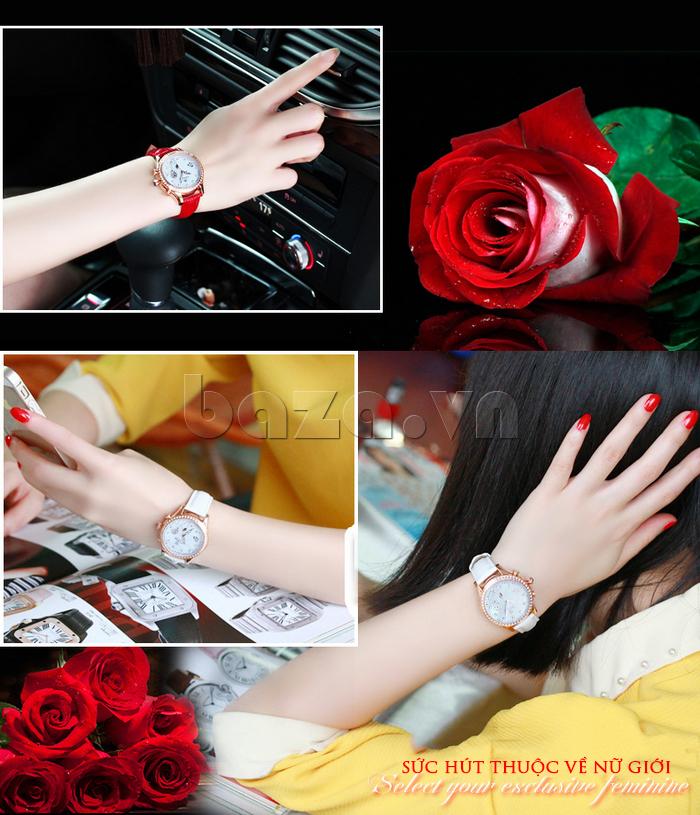 Đồng hồ nữ Vinoce V6276L dây da, viền đính đá sang trọng tô điểm vẻ đẹp cho đôi tay bạn gái