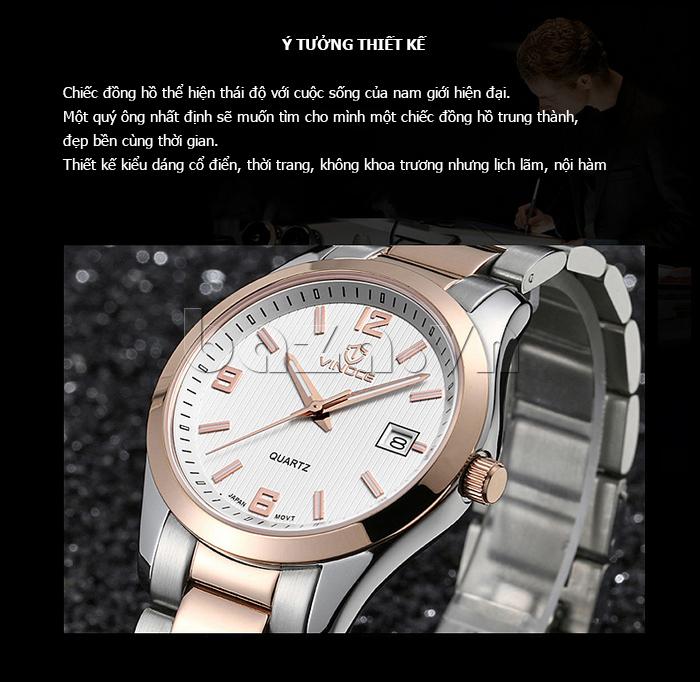 Đồng hồ nữ máy Quartz Vinoce 8380 thiết kế đơn giản độc