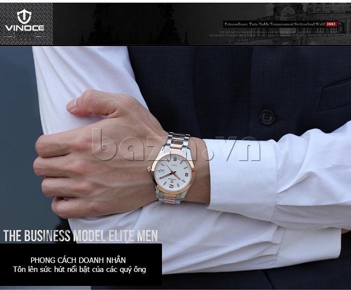 Đồng hồ nữ máy Quartz Vinoce 8380 thiết kế đơn giản thời trang