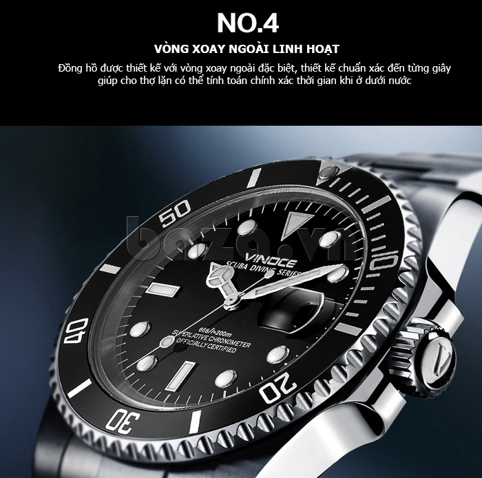 Đồng hồ nam viền khắc số, chống nước hoàn hảo Vinoce 6332222 thiết kế hoàn hảo