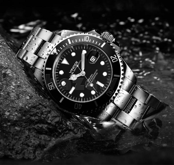 Đồng hồ nam viền khắc số, chống nước hoàn hảo Vinoce 6332222 tinh xảo