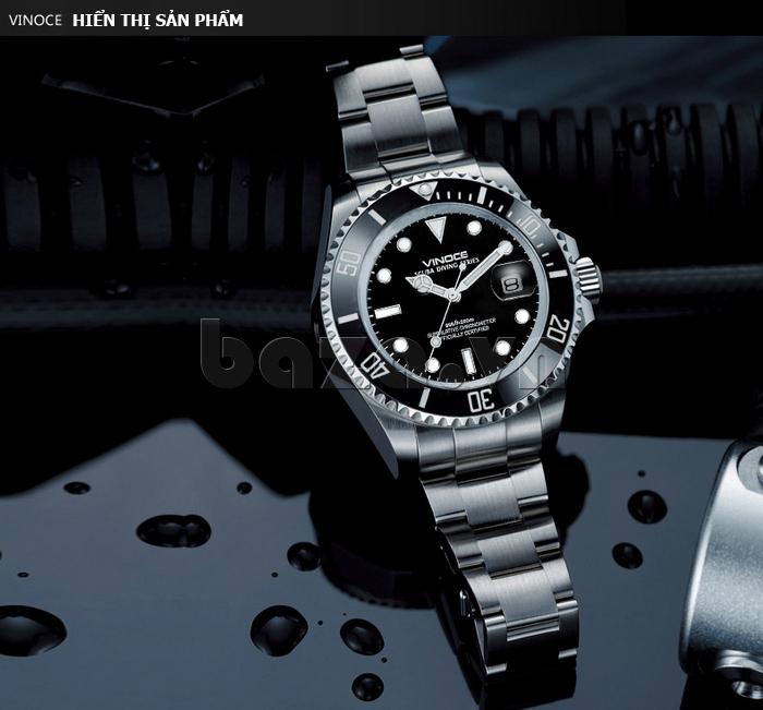 Đồng hồ nam viền khắc số, chống nước hoàn hảo Vinoce 6332222 thiết kế bền đẹp