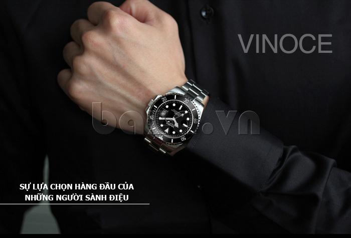 Đồng hồ nam viền khắc số, chống nước hoàn hảo Vinoce 6332222 thiết kế chất lượng