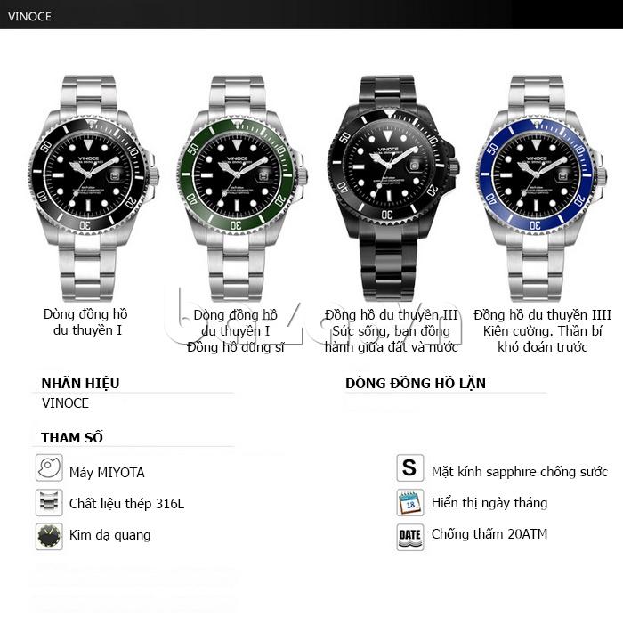 Đồng hồ nam viền khắc số, chống nước hoàn hảo Vinoce 6332222 chất lượng