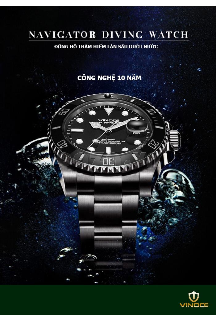 Đồng hồ nam viền khắc số, chống nước hoàn hảo Vinoce 6332222 ĐẸP