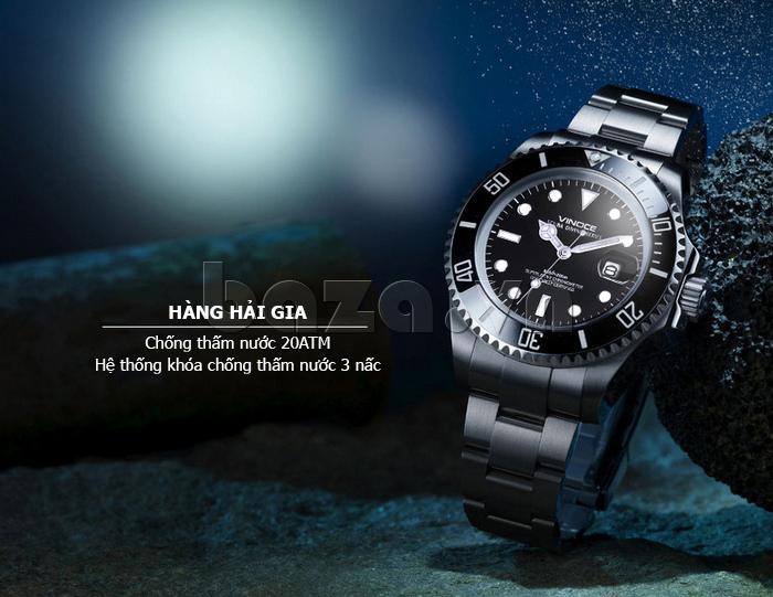 Đồng hồ nam viền khắc số, chống nước hoàn hảo Vinoce 6332222 tinh tế