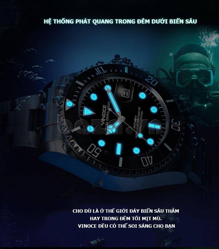 Đồng hồ nam viền khắc số, chống nước hoàn hảo Vinoce 6332222 thiết kế đẹp