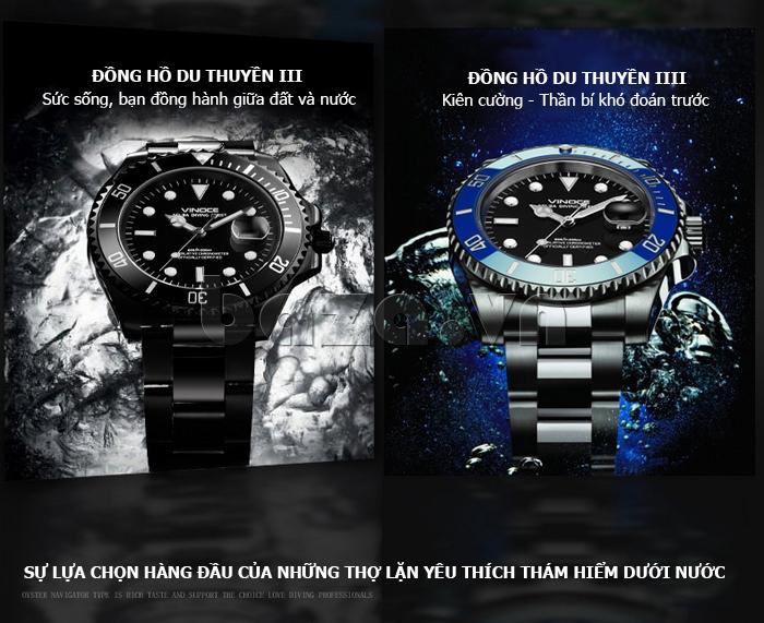 Đồng hồ nam viền khắc số, chống nước hoàn hảo Vinoce 6332222 ấn tượng