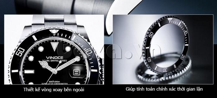 Đồng hồ nam viền khắc số, chống nước hoàn hảo Vinoce 6332222 thiết kế tuyệt vời