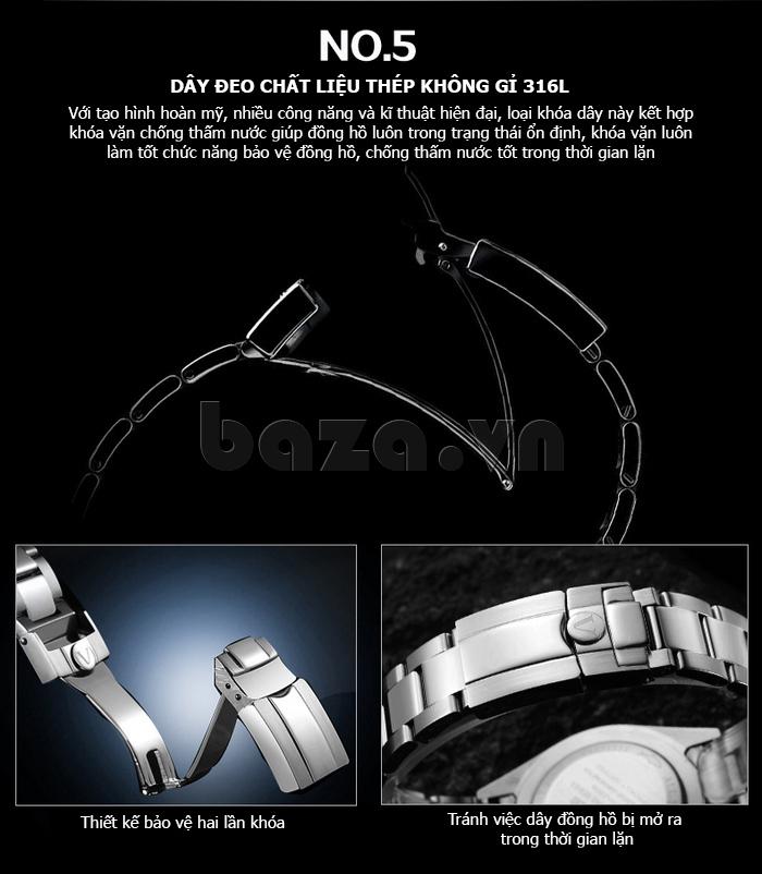 Đồng hồ nam viền khắc số, chống nước hoàn hảo Vinoce 6332222 thiết kế tinh tế
