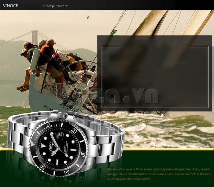 Đồng hồ nam viền khắc số, chống nước hoàn hảo Vinoce 6332222 chính hãng