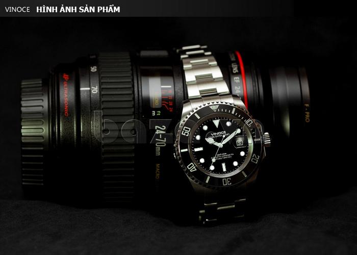 Đồng hồ nam viền khắc số, chống nước hoàn hảo Vinoce 6332222 thiết kế tinh xảo