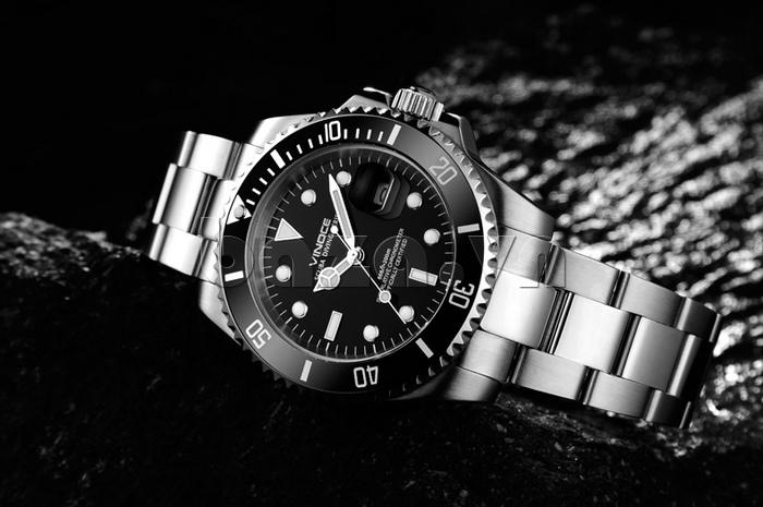 Đồng hồ nam viền khắc số Vinoce 6332222 thiết kế độc