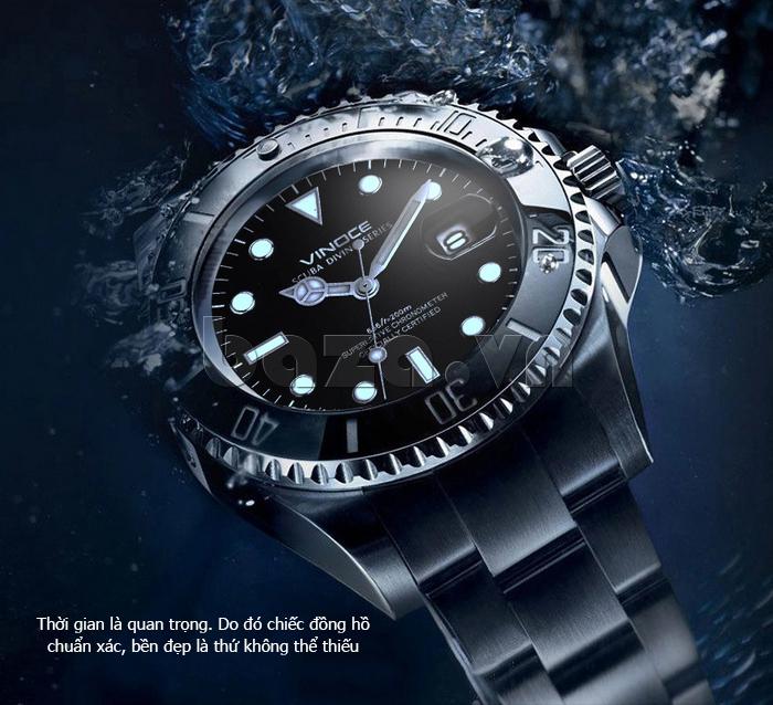 Đồng hồ nam viền khắc số, chống nước hoàn hảo Vinoce 6332222 phong cách