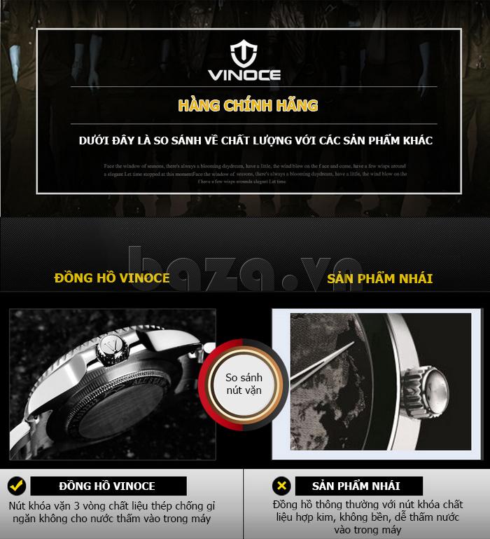 Đồng hồ nam viền khắc số Vinoce 6332222 thiết kế hoàn hảo